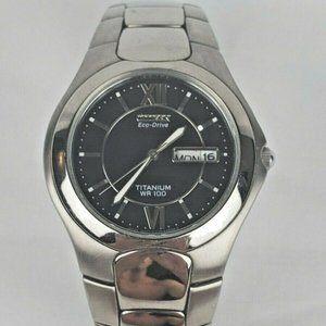 Citizen Eco-Drive Men's Titanium Silver Tone Brace
